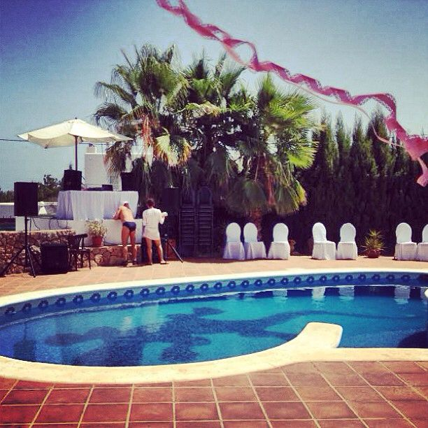 Furniture rental for wedding in Ibiza at pool villa. Music rental for weeding in Ibiza.